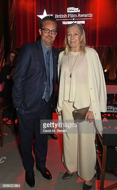 Matthew Perry and Vanessa Redgrave attend a champagne reception at the London Evening Standard British Film Awards at Television Centre on February 7...
