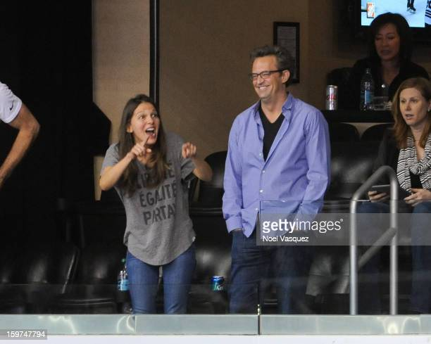 Matthew Perry attends a hockey game between the Chicago Blackhawks and the Los Angeles Kings at Staples Center on January 19 2013 in Los Angeles...