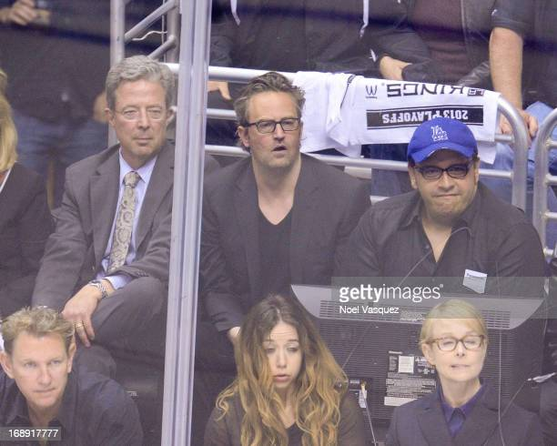 Matthew Perry attends an NHL playoff game between the San Jose Sharks and the Los Angeles Kings at Staples Center on May 16 2013 in Los Angeles...