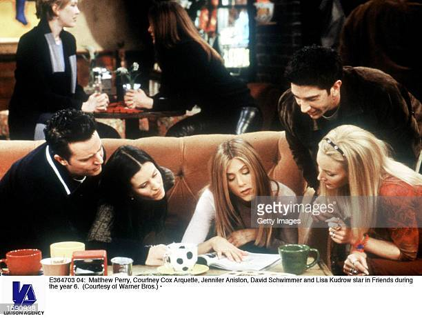 Matthew Perry, Courteney Cox Arquette, Jennifer Aniston, David Schwimmer and Lisa Kudrow star in Friends during year 6.