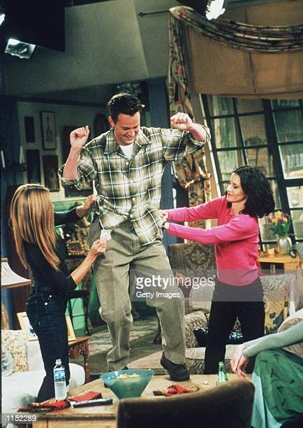 "Matthew Perry, Jennifer Aniston, and Courteney Cox star in the latest season of ""Friends."""