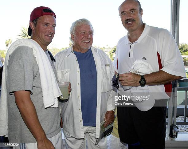 Matthew Perry Merv Griffin and Dr Phil McGraw during The Beverly Hills Country Club Charity Celebrity Tennis Benefiting Childhelp USA at Beverly...