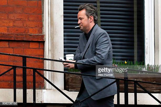 Matthew Perry seen taking a break from rehearsals for his play 'The End of Longing' on January 22 2016 in London England