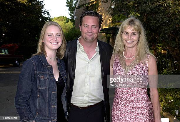 Matthew Perry with mom Suzanne sister Emily during LA Kings the Canadian Community Pay Tribute to Garnet Ace Bailey at The Canadian Residence in Los...