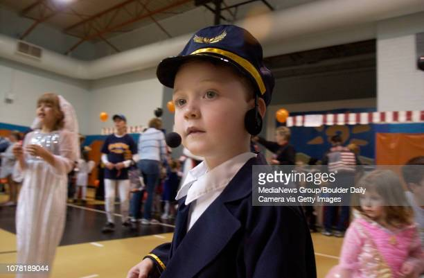 Matthew Peters dressed as an airline pilot for the Great Pumpkin Festival at the Broomfield Community Center on Saturday