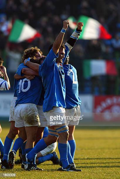 Matthew Phillips of Italy celebrates victory as the final whistle blows during the RBS Six Nations match between Italy and Wales held on February 15...