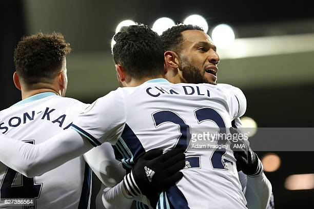Matthew Phillips of West Bromwich Albion celebrates scoring his team's third goal to make the score 31 during the Premier League match between West...
