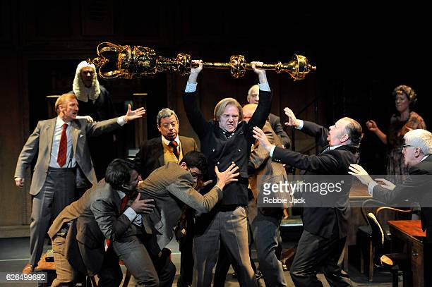 Matthew Pigeon with artists of the company in James Graham's This House directed by Jeremy Herrin at the Garrick Theatre on November 25, 2016 in...