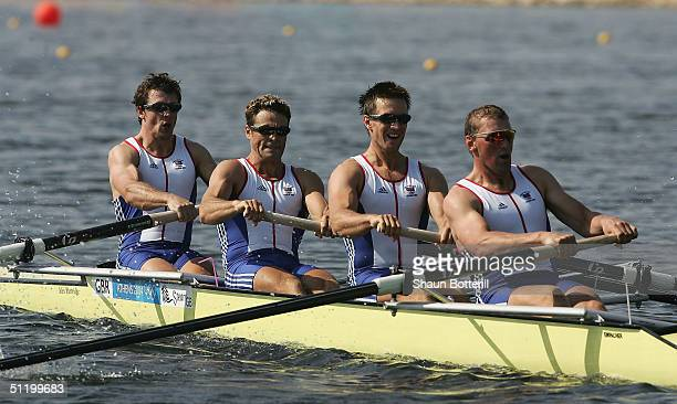Matthew Pinsent Ed Coode James Cracknell Steve Williams of Great Britain in the men's four event on August 21 2004 during the Athens 2004 Summer...