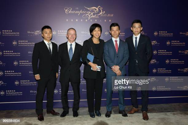 Matthew Poon Mingfai Felix Coetzee Amy Chan Victor Wong Chun and Jack Wong Honam at 2017/18 HKJC Champion Awards Presentation Ceremony on July 13...