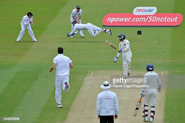 Matthew Prior dives spectacularly to gather a ball from Steven Finn; Tillakaratne Dilshan is the batsman, England v Sri Lanka, 2nd Test, Lord's, June...