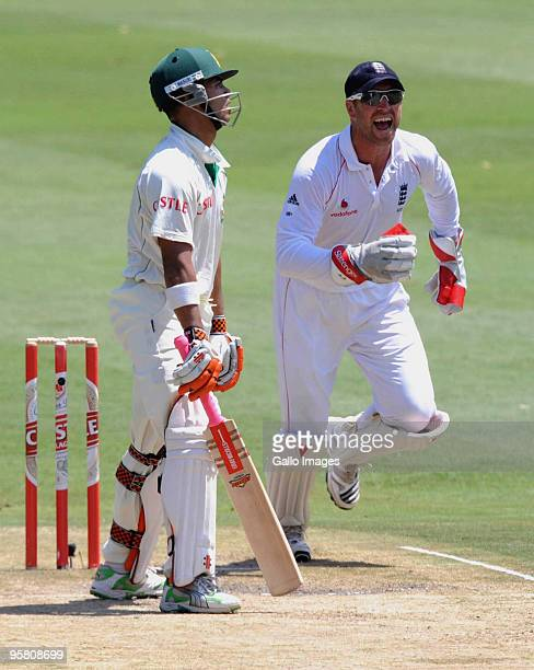 Matthew Prior of England celebrates the wicket of JP Duminy of South Africa during day 3 of the 4th Test match between South Africa and England at...