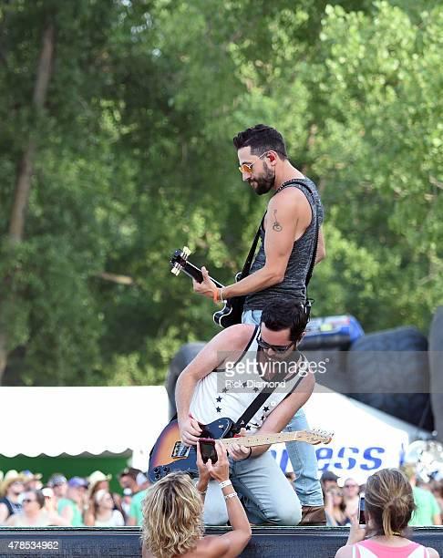 Matthew Ramsey and Brad Tursi of Old Dominion perform at Kicker Country Stampede Manhattan Kansas Day 1 on June 25 2015 in Manhattan Kansas