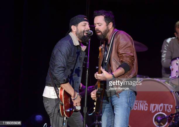 Matthew Ramsey and Brad Tursi of Old Dominion perform at the Bobby Bones The Raging Idiots' 5th Annual Million Dollar Show at Ryman Auditorium on...