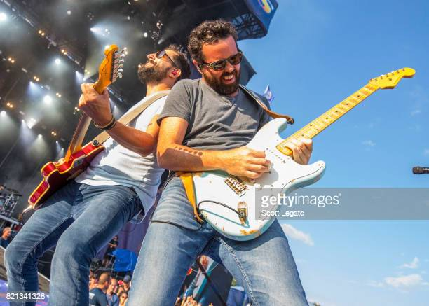 Matthew Ramsey and Brad Tursi of Old Dominion perform during day 3 of Faster Horses Festival at Michigan International Speedway on July 23 2017 in...