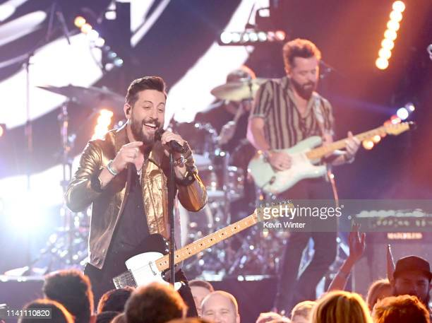 Matthew Ramsey and Brad Tursi of Old Dominion perform onstage during the 54th Academy Of Country Music Awards at MGM Grand Garden Arena on April 07...