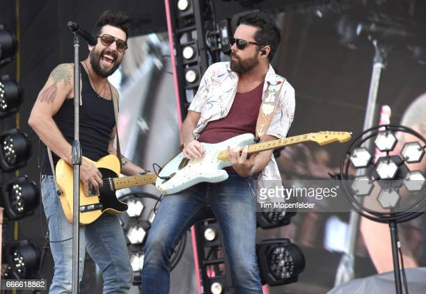Matthew Ramsey and Trevor Rosen of Old Dominion perform during the Tortuga Music Festival at the Fort Lauderdale Beach Park on April 9 2017 in Fort...