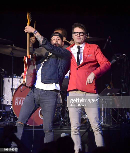 Matthew Ramsey of Old Dominion and Bobby Bones perform at the Ryman Auditorium on January 13 2020 in Nashville Tennessee