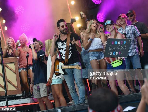 Matthew Ramsey of Old Dominion and Friends performs during Kicker Country Stampede Day 3 at Tuttle Creek State Park on June 24 2017 in Manhattan...