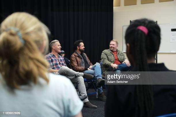 Matthew Ramsey Trevor Rosen and Brad Tursi members Of Old Dominion and songwriter Josh Osborne visit Columbia Heights High School on November 20 2019...