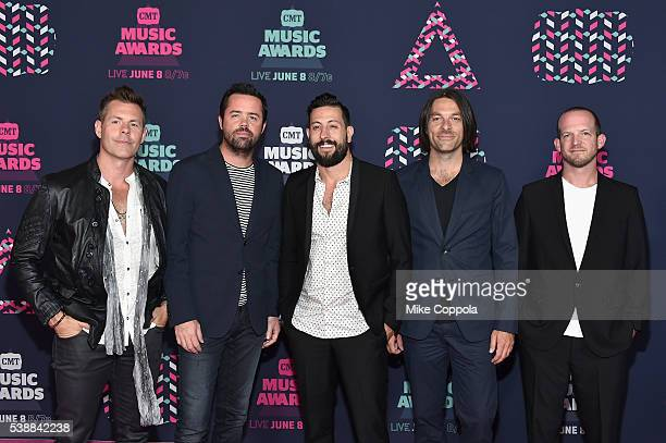 Matthew Ramsey Trevor Rosen Whit Sellers Geoff Sprung and Brad Tursi from musical group Old Dominion attends the 2016 CMT Music awards at the...