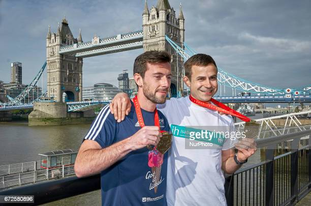 Matthew Rees and David Wyeth attend photocall at the end of London Marathon 2017 in London on April 24 2017