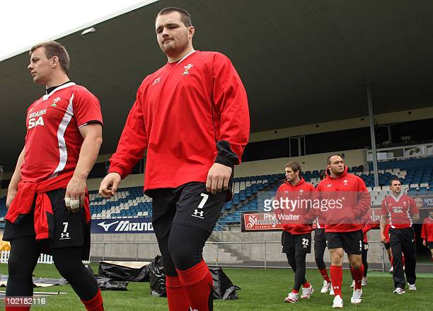 Matthew Rees and Ken Owens walk out onto the field for the Wales Rugby Captain's Run at Carisbrook on June 18 2010 in Dunedin New Zealand