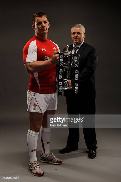 Matthew Rees Captain and Warren Gatland of Wales pose with the trophy during the RBS Six Nations Launch at The Hurlingham Club on January 26 2011 in...