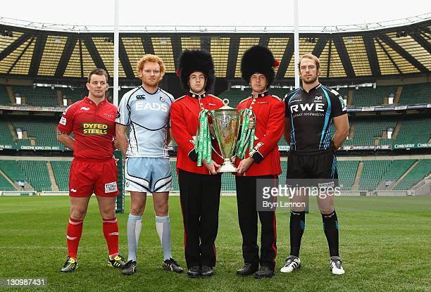 Matthew Rees of Scarlets Paul Tito of Cardiff Blues and Alun Wyn Jones of Ospreys attend the London Calling Heineken Cup Launch at Twickenham Stadium...