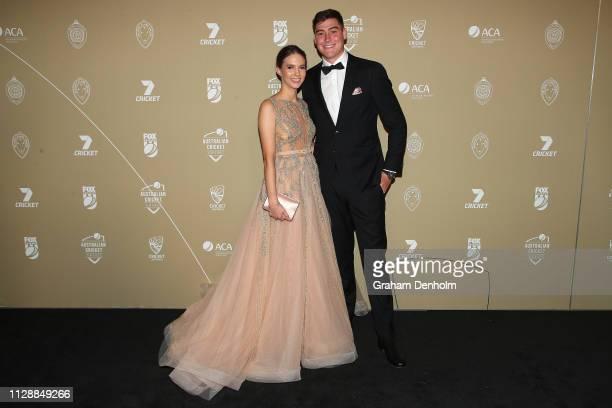 Matthew Renshaw and Josie Harvey attend the 2019 Australian Cricket Awards at Crown Palladium on February 11 2019 in Melbourne Australia