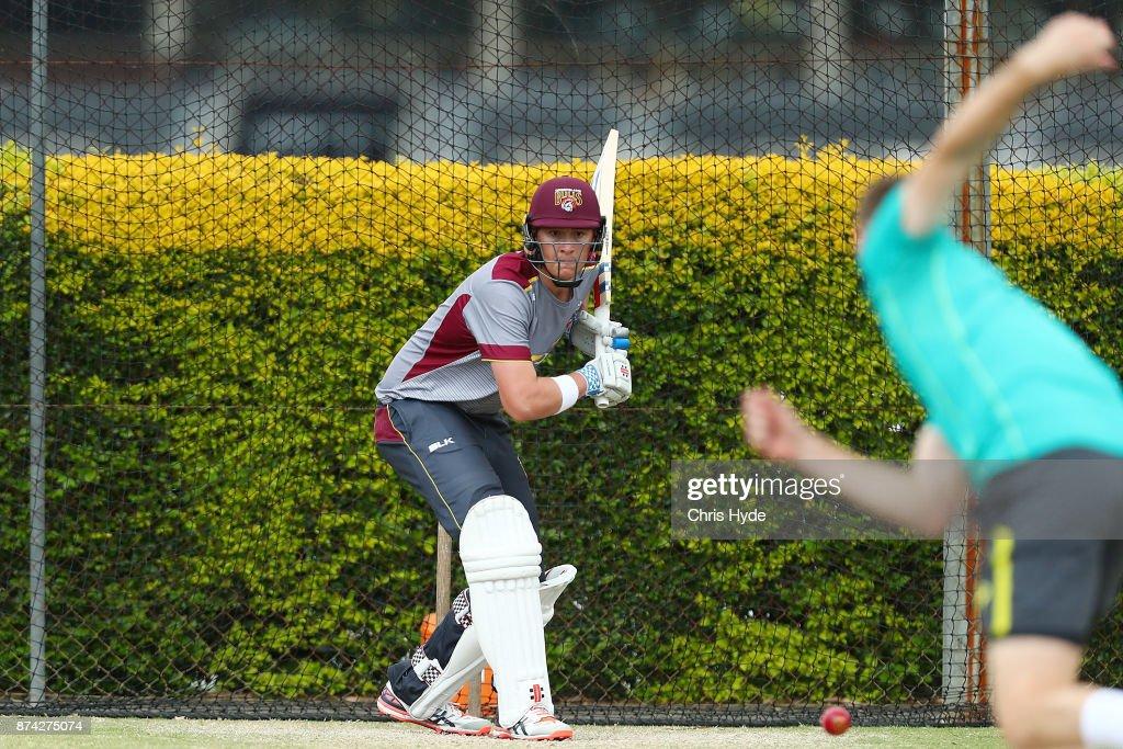 Matthew Renshaw bats during an Australian cricket training session at Allan Border Field on November 15, 2017 in Brisbane, Australia.