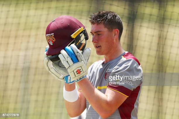 Matthew Renshaw looks on during an Australian cricket training session at Allan Border Field on November 15 2017 in Brisbane Australia