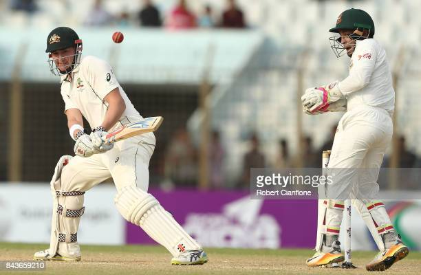 Matthew Renshaw of Australia bats during day four of the Second Test match between Bangladesh and Australia at Zahur Ahmed Chowdhury Stadium on...