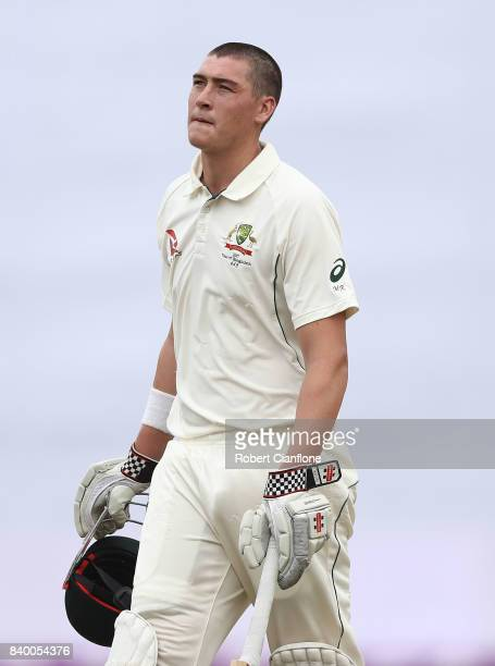 Matthew Renshaw of Australia walks off after he was dismissed by Shakib Al Hasan of Bangladesh during day two of the First Test match between...