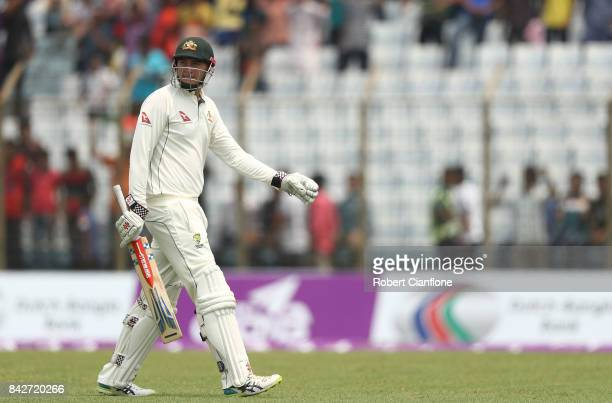 Matthew Renshaw of Australia walks off after he was dismissed during day two of the Second Test match between Bangladesh and Australia at Zahur Ahmed...
