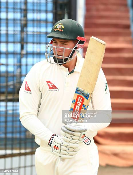 Matthew Renshaw of Australia walks out to bat during day two of the Second Test match between Bangladesh and Australia at Zahur Ahmed Chowdhury...