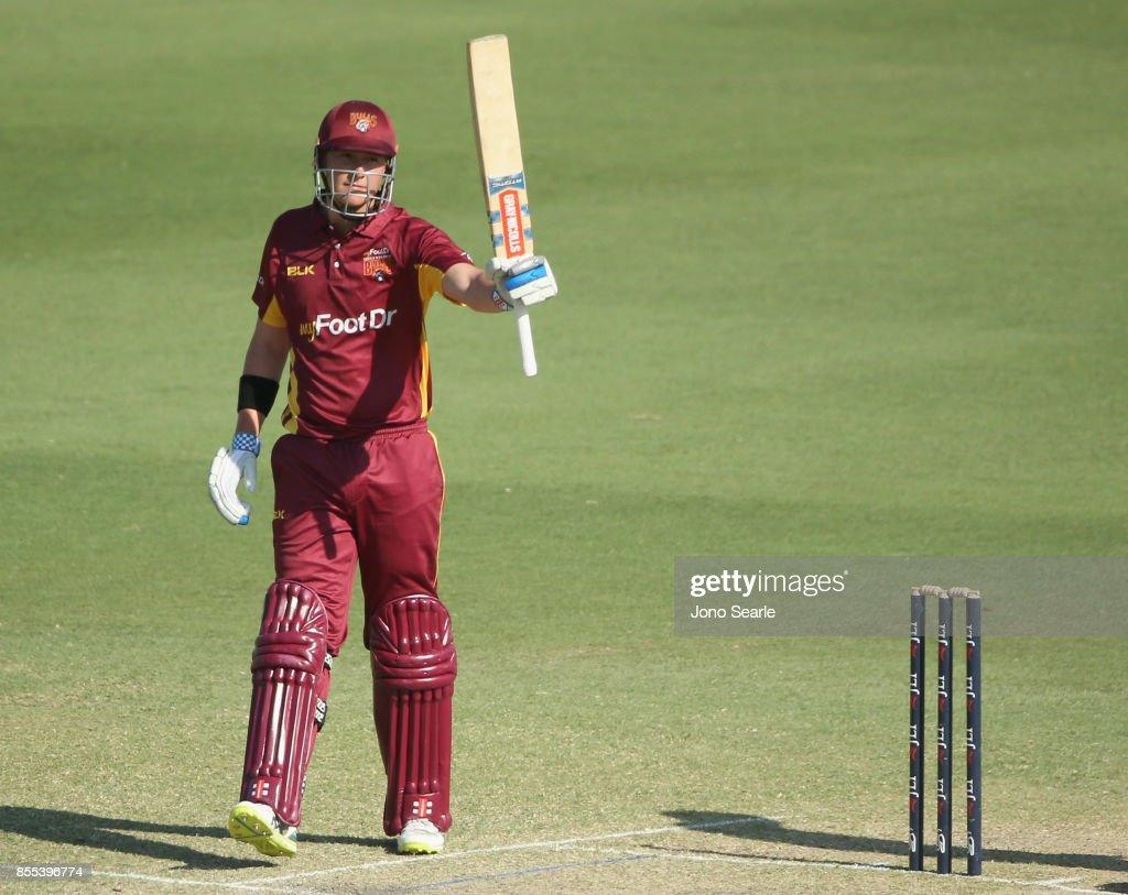 Matthew Renshaw of QLD celebrates making 50 during the JLT One Day Cup match between Queensland and the Cricket Australia XI at Allan Border Field on September 29, 2017 in Brisbane, Australia.