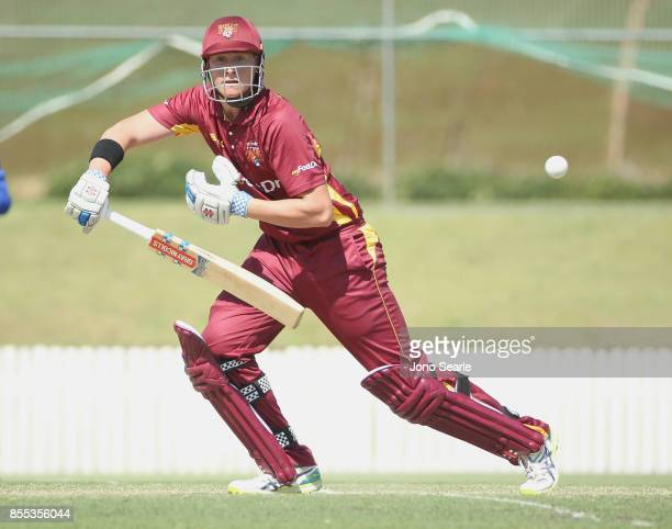 Matthew Renshaw of QLD plays a shot during the JLT One Day Cup match between Queensland and the Cricket Australia XI at Allan Border Field on...