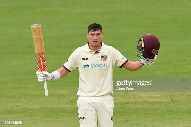 Matthew Renshaw of Queensland celebrates his century during day four of the Sheffield Shield match between Queensland and Western Australia at The...