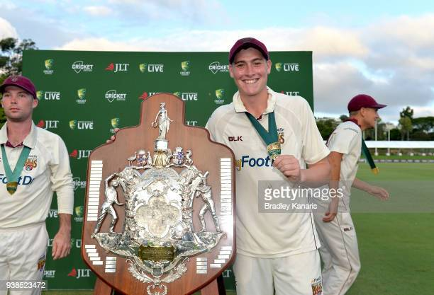 Matthew Renshaw of Queensland celebrates victory after day five of the Sheffield Shield final match between Queensland and Tasmania at Allan Border...