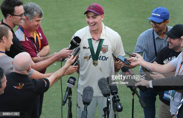 Matthew Renshaw of Queensland talks to media after his team won during day five of the Sheffield Shield final match between Queensland and Tasmania...