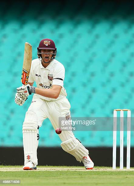 Matthew Renshaw of the Bulls bats during day one of the Sheffield Shield match between New South Wales and Queensland at Sydney Cricket Ground on...