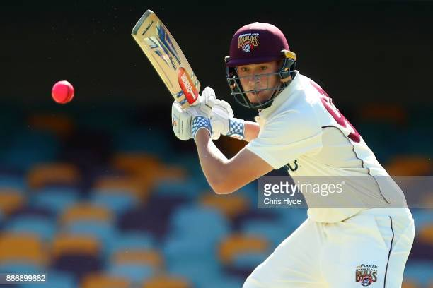Matthew Renshaw of the Bulls bats during day two of the Sheffield Shield match between Queensland and Victoria at the Gabba on October 27 2017 in...