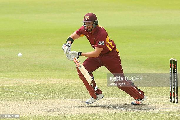 Matthew Renshaw of the Bulls bats during the Matador BBQs One Day Cup match between Tasmania Tigers and Queensland Bulls at Allan Border Field on...