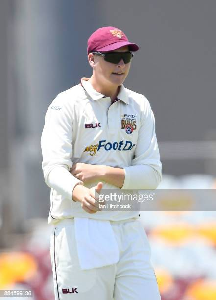 Matthew Renshaw of the Bulls looks on during day one of the Sheffield Shield match between Queensland and South Australia at Cazaly's Stadium on...
