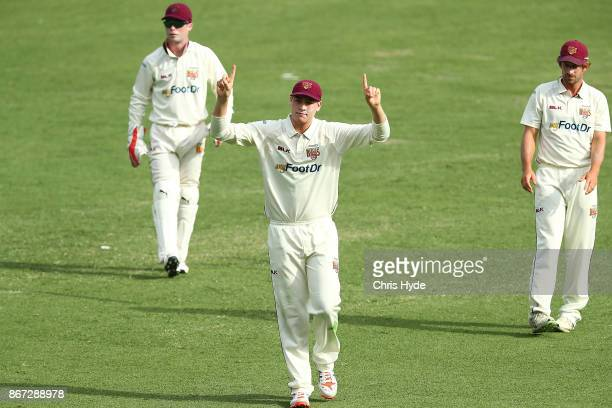 Matthew Renshaw of the Bulls reacts during day three of the Sheffield Shield match between Queensland and Victoria at the Gabba on October 28 2017 in...