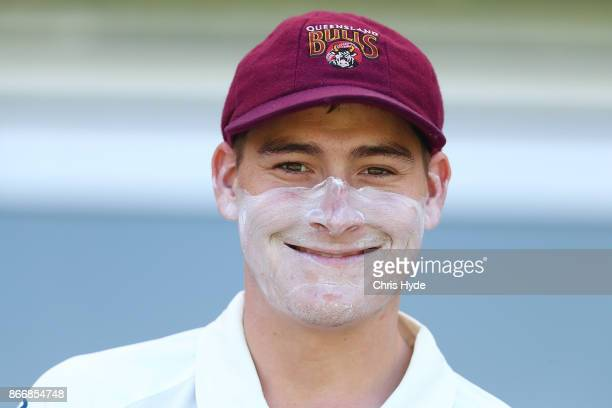 Matthew Renshaw of the Bulls smiles during day two of the Sheffield Shield match between Queensland and Victoria at the Gabba on October 27 2017 in...