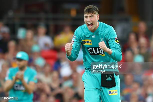 Matthew Renshaw of the Heat celebrates after dismissing Nick Maddinson of the Stars during the Big Bash League Match between the Brisbane Heat and...