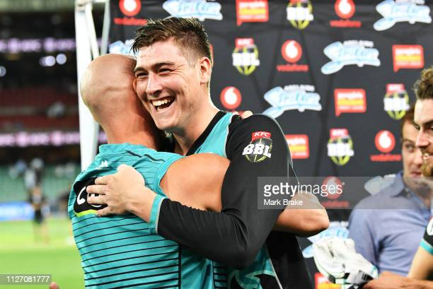 Matthew Renshaw of the Heat clelbrates the win with his team after the Big Bash League match between the Adelaide Strikers and the Brisbane Heat at...