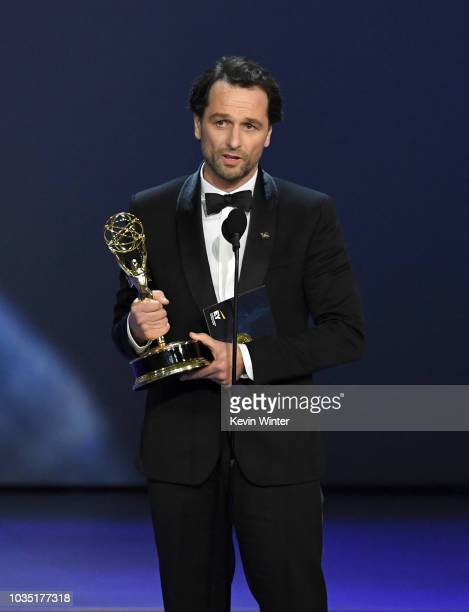Matthew Rhys accepts the Outstanding Lead Actor in a Drama Series award for 'The Americans' onstage during the 70th Emmy Awards at Microsoft Theater...